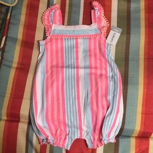 Nwt Carters Hot pink, blue and white stripe romper